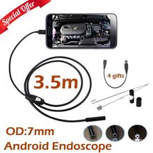 10pcs/lot 5M 3.5M Android USB Android Endoscope Camera 7mm Len Mini USB IP67 Waterproof Snake Tube Inspection Borescope Camera