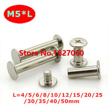 M5*6/8/10/12/13/20/25/30mm Chicago Screws, Photo Album screws, Snap Rivet Books Butt Screw Nickel plated , assembling Bolts(China)
