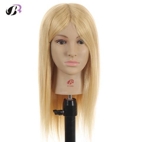Fêmea do Mannequin Formação de Cabeleireiro Styling de Alta Cabeça de Manequim 52 cm Loiro Cabeleireiro Profissional Bonecas Cabeça Cabeça Qualidade