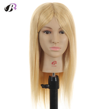 52cm Professional Blonde hairdressing dolls head Female Mannequin Hairdressing Styling Training Head high quality