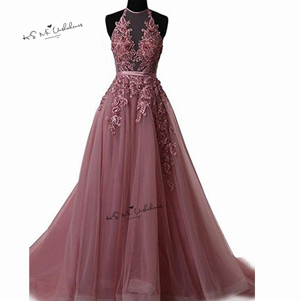 Robes de Gala rose Sexy dos nu robes de bal longue dentelle licou grande taille robes de soirée formelle Occasion spéciale femmes robe
