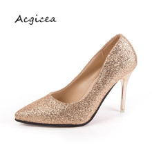 2019 Spring glitter gold high-heeled shoes pointed with silver fine with