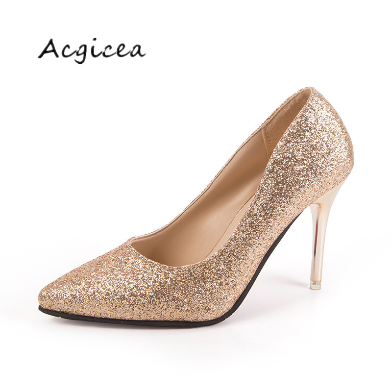 2019 Spring Glitter Gold High-heeled Shoes Pointed With Silver Fine With Women's Shoes Bridesmaid Wedding Shoes Mujer S019