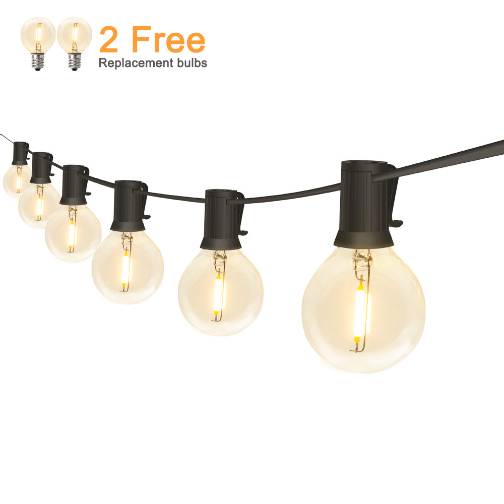 Outdoor LED String Lights Waterproof IP65 18Ft/25Ft G40 Globe LED Filament Bulbs for Patio Garden Porch Backyard Christmas Party