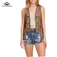 2016 New Women S Faux Suede Ethnic Floral Flower Embroidery Sleeveless Tassels Fringed Vest Jacket Black