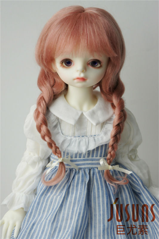 ФОТО JD2031 1/3 23-25CM mohair BJD doll wigs 9-10 inch Long Lovly Anna braid wig 100% Long Angola mohair without extenion