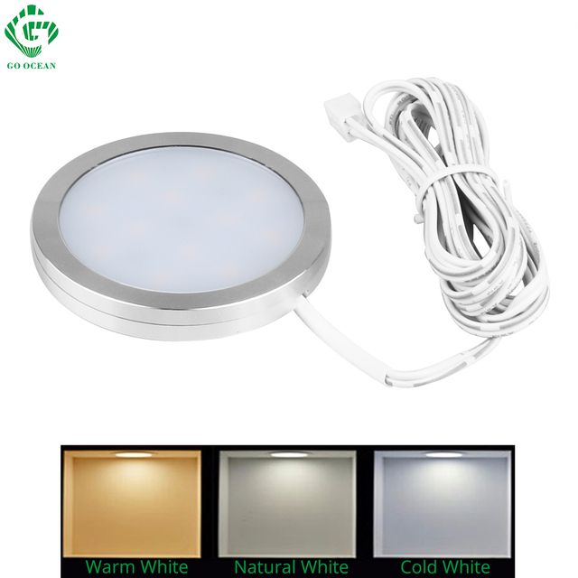 LED Under Cabinet Lights 12V Round Counter Puck Cupboard Wardrobe Kitchen Cuisine Drawer Lamp Shelf Showcase Closet Lighting