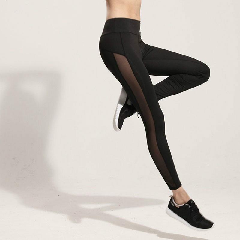 Fashion Mesh Splice Fitness Leggings Women Slim Black Legging Sportswear Clothing Women Leggins Hot Bodybuilding