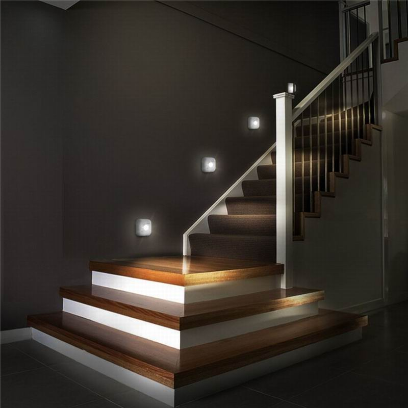 Chiclits LED Sensor Night Light Dual Induction PIR Infrared Motion Sensor Lamp Battery Powered Wall Lamps Cabinet Stairs Light
