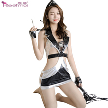Police Role Play Sex Lingerie For Women Deep V-Lapel Hollow Waist Hot Drilling Belt Sexy Erotic Dress