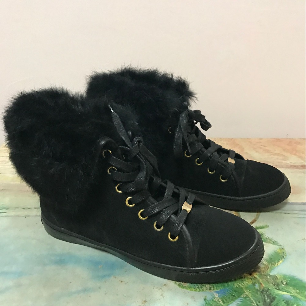 ФОТО Winter Warm Snow Boots Women Fur Ankle Boots Black Flats Short Booties Lace Up Flat Shoes Woman Botas