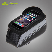 BASECAMP Bicycle Frame Bag Waterproof Tube Front Pannier Touch Screen 6 Inch Cellphone PU Cycling Bags Bicycle Accessories H5505