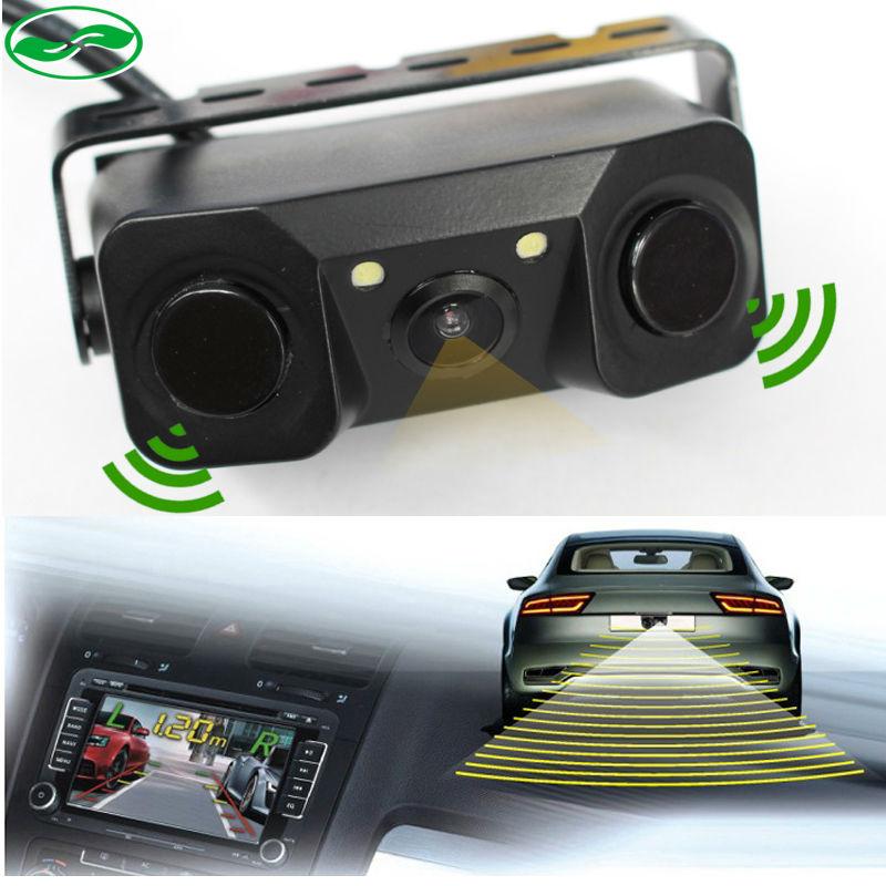 Prix pour Nouvelle Voiture Vidéo Parking Caméra Capteur, vue arrière caméra + 2 Capteurs Indicateur Bi Bi Alarme Auto Reverse Sauvegarde Assistance Radar