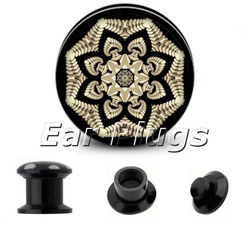 Wholesale Kaleidoscope Flower Mandala plug gauges acrylic screw ear plug flesh tunnel piercing body jewelry ASP0816