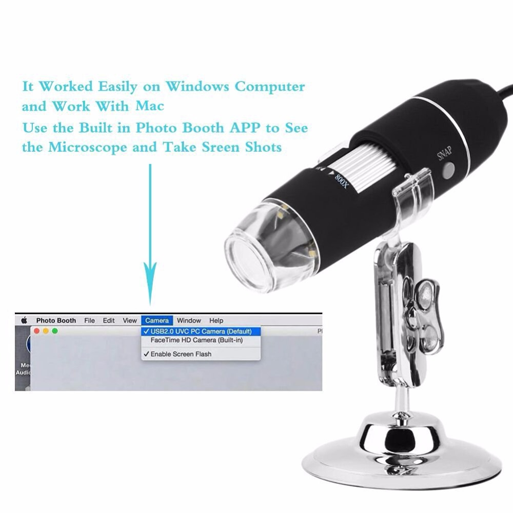500x 800x 1000x Digital Microscope USB Magnification HD 8LED Mini Camera Magnifier Stand Tripod Base for Mac Windows Android