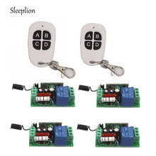 Sleeplion AC 110V 10A 1CH Relay 2 4-key 315MHz 433MHz Wireless RF Remote Switch Transmitter+4 Receiver Teleswitch Module