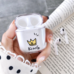 Image 2 - Transparent Hard Cases For Apple Airpods Wireless Bluetooth Earphone Cute Cartoon King Queen Clear Couple Cover Air Pods Earpods