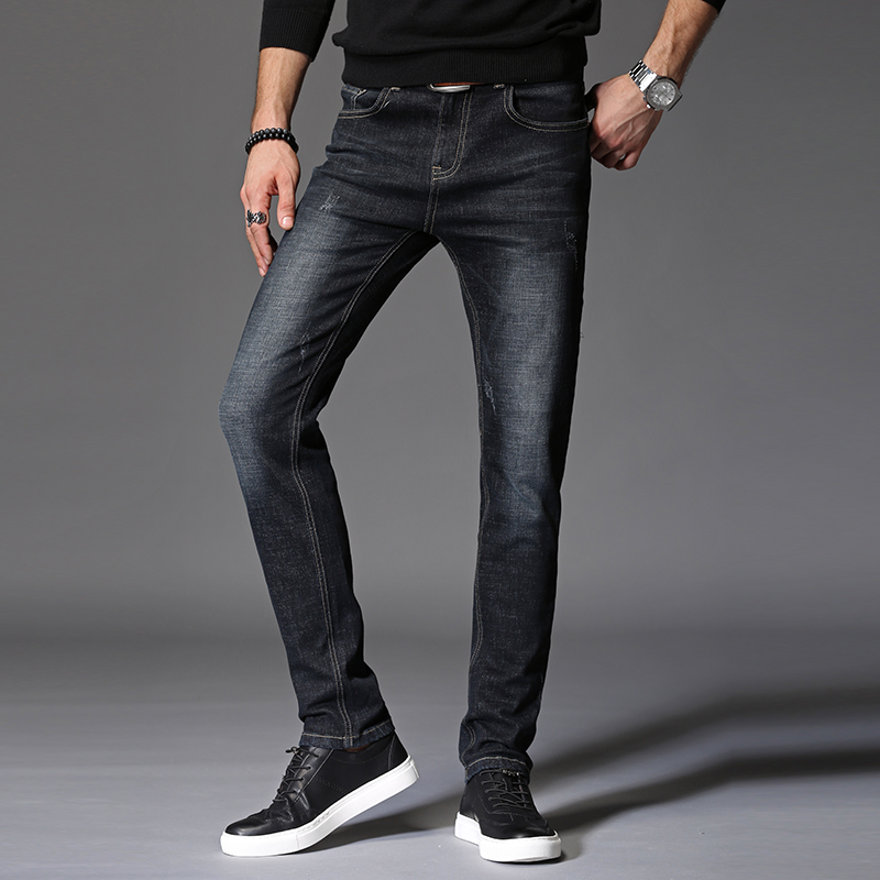 New Black Skinny Jeans Elasticity Casual Elastic Pants Mens Jeans High Quality Pencil Pants Fashion Business Casual High Waist