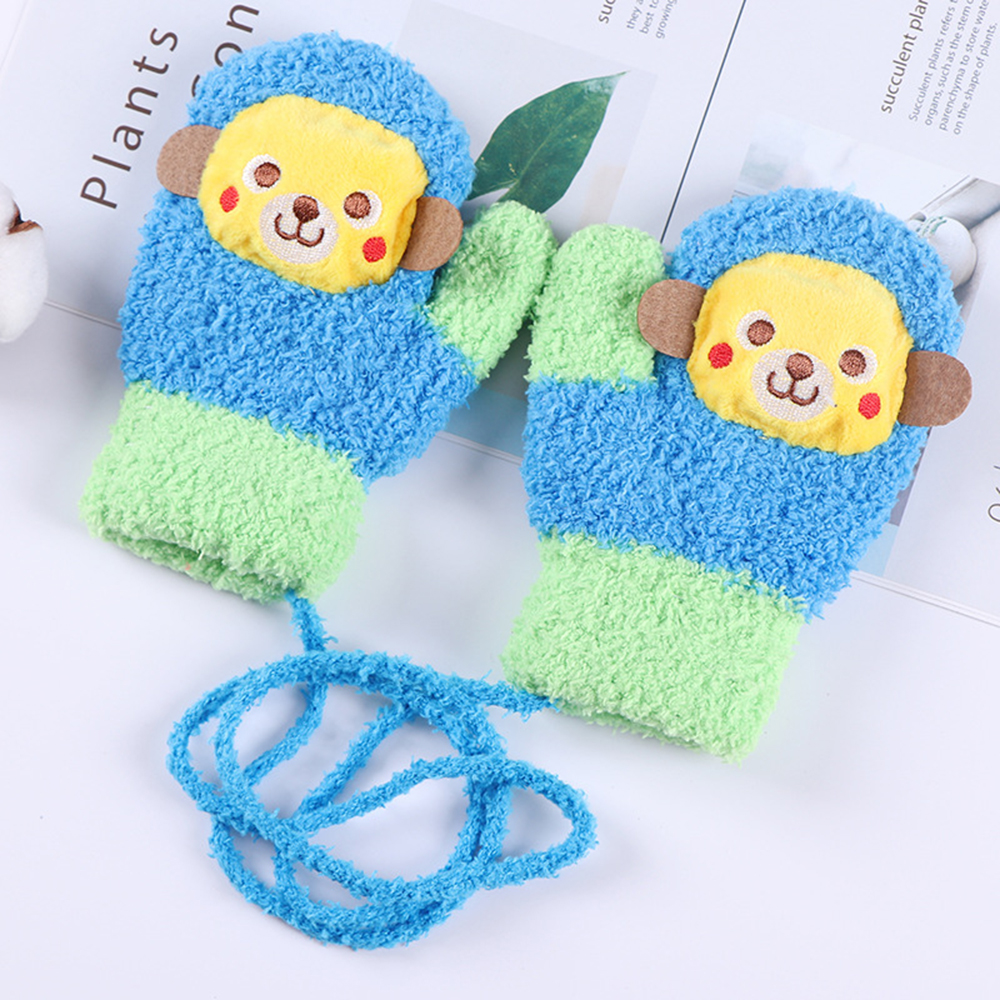 Toddler Baby Kid Girls Boys Cartoon Fish Full Finger Warm Knitted Mittens Gloves