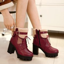 2015 spring winter fashion thick heel platform high-heeled shoes ankle boots round toe lace up vintage women pumps Fur boots