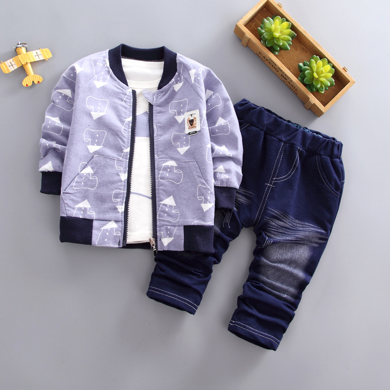 BibiCola 2018 fall new kids boys leisure clothing sets zipper jacket + shirts+jean pants children baby clothes sports suit new batman boys clothing sets spring cotton captain america baby clothes suit children shirts pants 2 pieces suit kids clothing