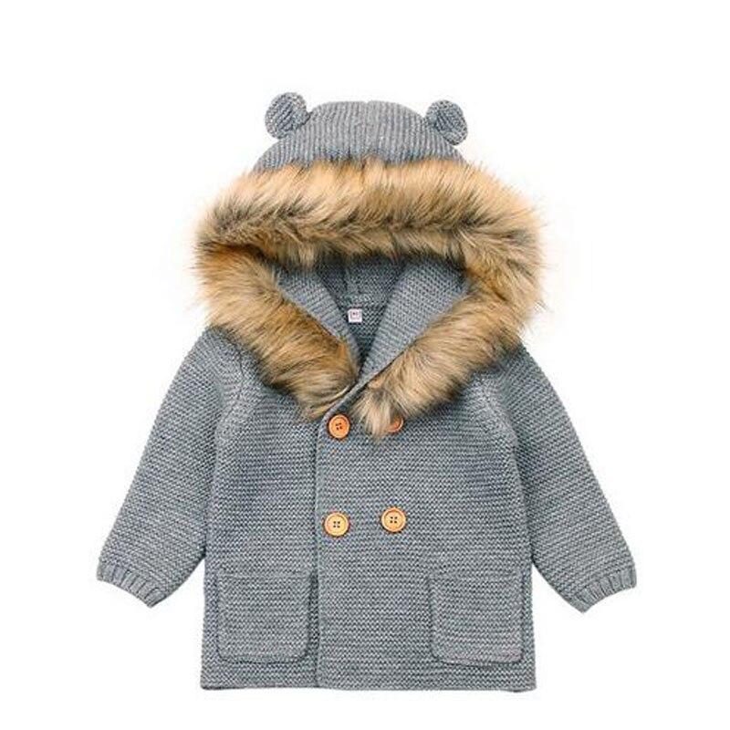 Haben Sie Einen Fragenden Verstand Neugeborenen Baby Winter Warme Pullover Pelz Kapuze Abnehmbare Infant Jungen Mädchen Strickjacke Santa Pullover Strickjacke Stricken Outwear 6 Mt- 24 Mt