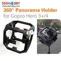 Montar caso 360 graus panorama esférica tiro cheio titular do quadro de montagem para câmera gopro hero 3 3 + 4