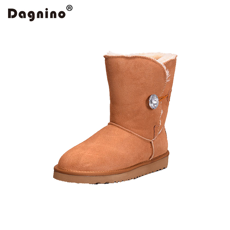 DAGNINO Brand Australia Plush Snow Boots High Quality Women Crystal Buttons Ug Style Genuine Cowhide Leather Winter Warm Shoes