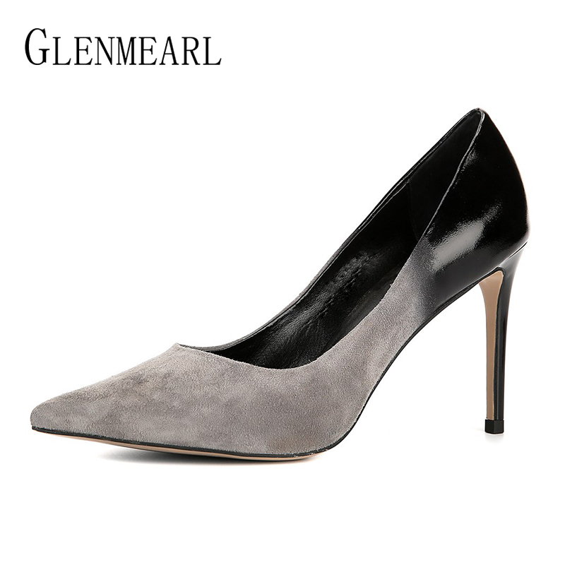 Luxury Women Pumps High Heels Suede Genuine Leather Women Wedding Shoes Pointed Toe Thin Heels Ladies Shoe Casual Woman Heel DE