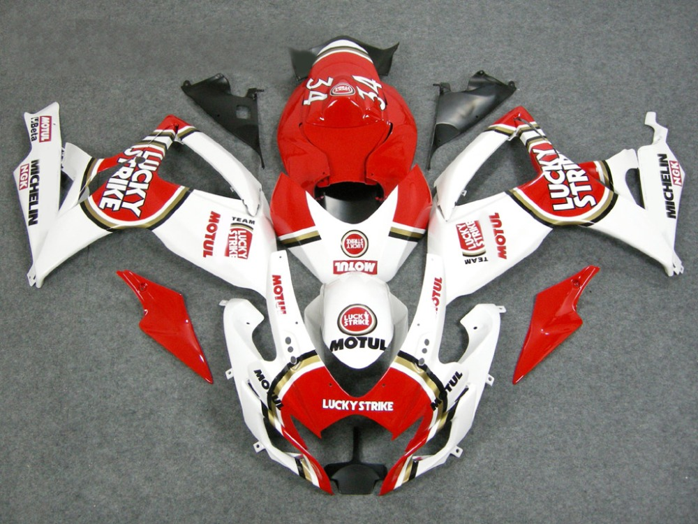 Hey-Motorcycle <font><b>Fairing</b></font> <font><b>Kit</b></font> for SUZUKI <font><b>GSXR</b></font> <font><b>600</b></font> 750 K6 06 07 GSXR600 GSXR750 2006 <font><b>2007</b></font> ABS white RED <font><b>Fairings</b></font> set image