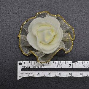 Image 2 - 20pcs 4cm שוליים נצנצים משי קצף פרחי DIY בעבודת יד מלאכותי עלה פרח ראשים לחתונה טוטו קישוט ראש פרחים