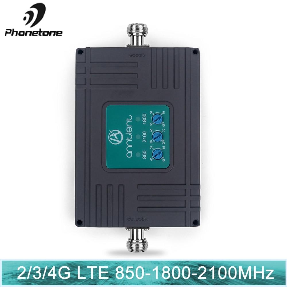 Amplificateur cellulaire de Signal 4G Booster WCDMA UMTS LTE 2G 4G 850 1800 2100 MHZ ensemble d'amplificateur de répéteur de Signal Mobile DCS LTE à trois bandes
