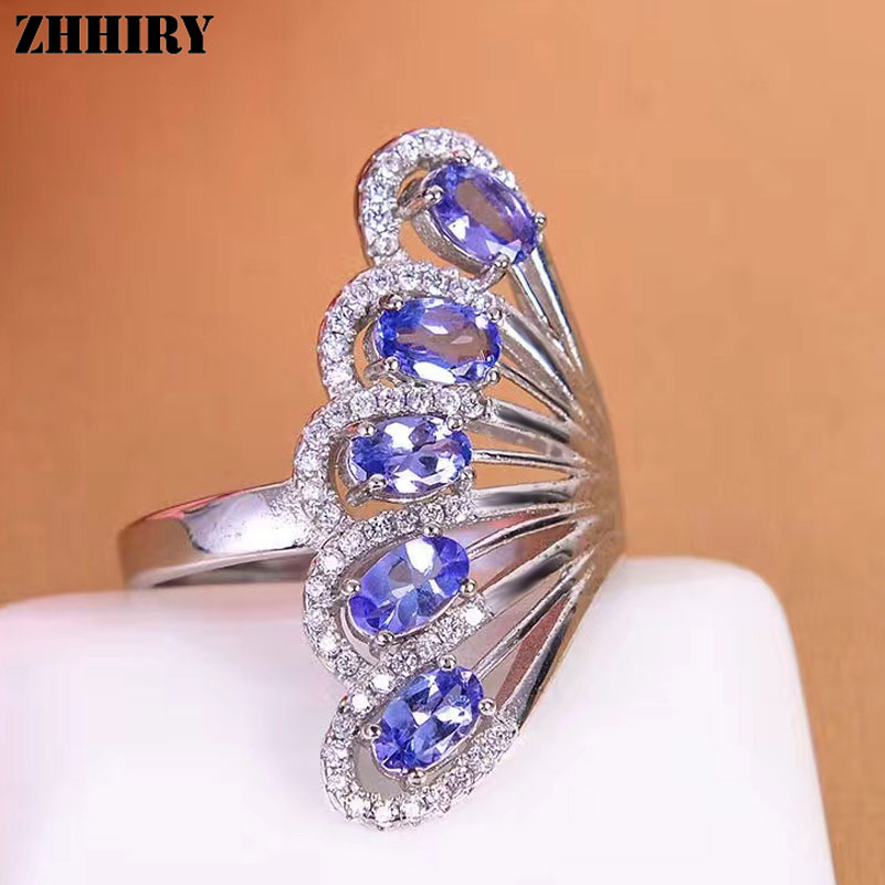 ZHHIRY Genuine Natural Blue Tanzanite 925 Sterling Silver Ring For Women Gemstone Rings Real Precious Fine JewelryZHHIRY Genuine Natural Blue Tanzanite 925 Sterling Silver Ring For Women Gemstone Rings Real Precious Fine Jewelry
