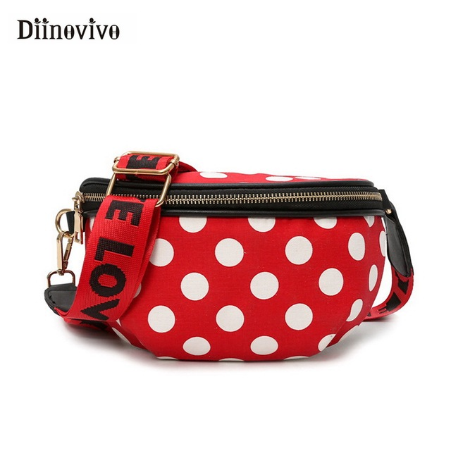DIINOVIVO Fashion Fanny Pack Dot Women Waist Bag Belt Casual Letter Phone Pouch Designer Shoulder Bag Hip Sac A Main WHDV0612