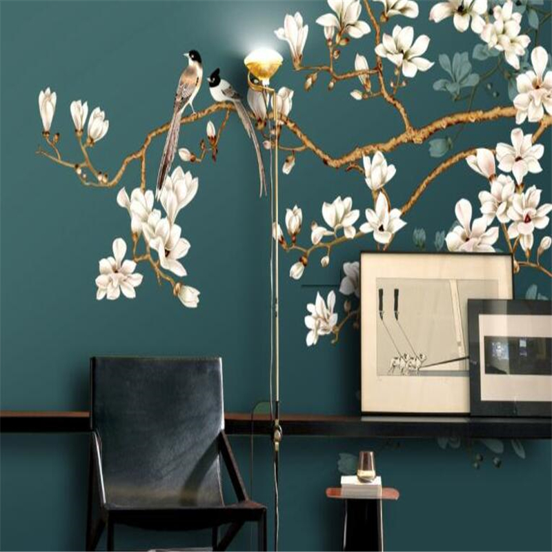 beibehang HD mura interior decoration painting wall paper hand painted new Chinese style flowers and birds backdrop wallpaper 3d beibehang custom 3d wallpapers hand painted retro nostalgic abstract oil painting flowers landscape european style wallpaper