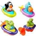 Bebê meninos meninas adorável animal play água barcos de puxar a corda pinguim brinquedos do banho do bebê de brinquedo para crianças para o banheiro lf024