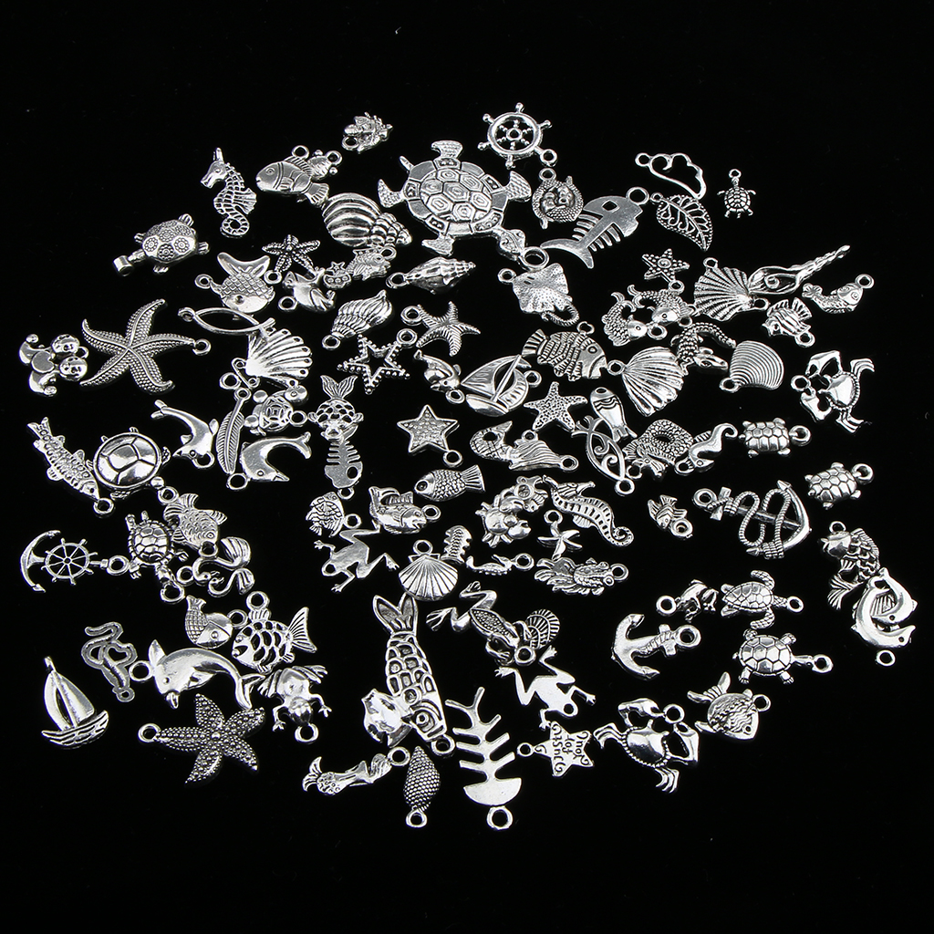 100 Pieces Mixed Ocean Fish Seashell Animal Sea Creatures Charms Pendants Jewelry Making Accessory DIY Findings 65 pcs set small sea animals toy figurine mixed lot ocean creatures fish marine life solid model children gifts free shipping