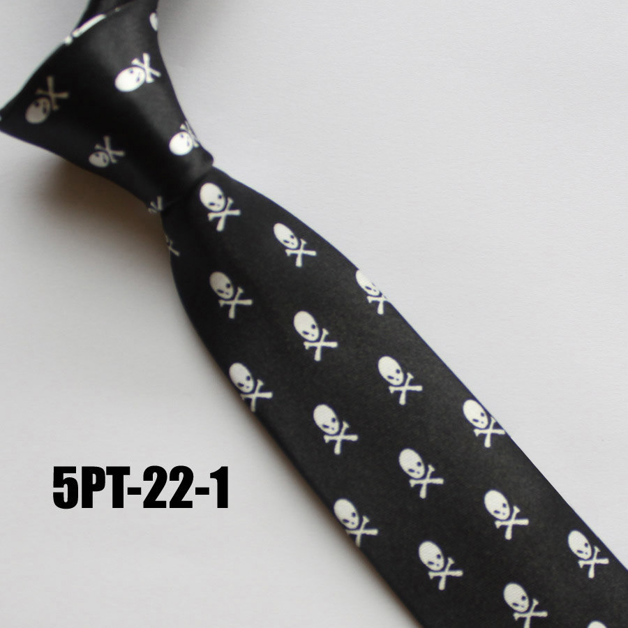 5cm Young Men Narrow Tie Fashion Printed Necktie for Party Black with White Skulls