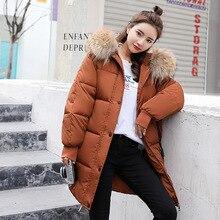 Зимняя женская куртка, женский пуховик с капюшоном, меховой воротник, на молнии, Длинная женская куртка, Женский Теплый Зимний пуховик