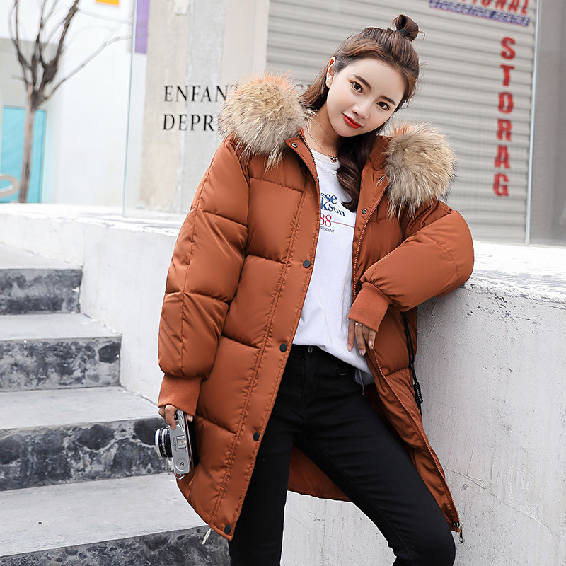 Jacket women 2018 new arrival hooded women   down     coat   fur collar zippers long   down     coat   female warm winter women   down   jacket