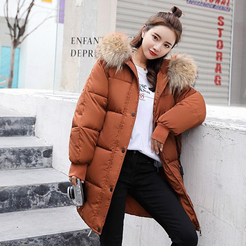 Jaqueta de inverno 2019 nova com capuz para baixo casaco de pele gola zíperes longo feminino quente inverno jaqueta feminina para baixo