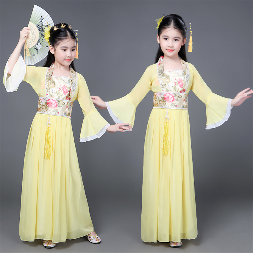 Hanfu Traditional Chinese Costume For Kids Women Girl Fairy Outfits Folk Dress Ancient Dance Costume Children Tang Suit Stage