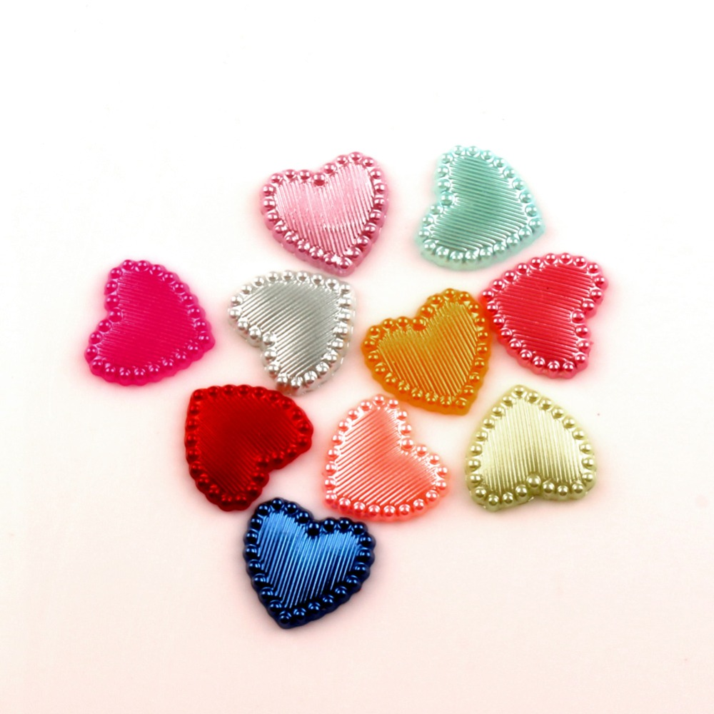 LF Mixed Heart Craft ABS Resin Half Pearls Flatback Cabochon Beads For Cloth Needlework DIY Scrapbooking Decoration 100PCS(China)