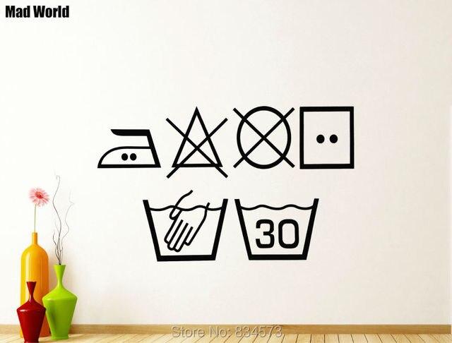 Laundry Symbols Wall Art Impressive Mad World Laundry Symbols Washing Kitchen Utility Wall Art Decorating Inspiration