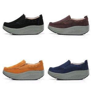 Image 4 - حذاء نسائي مسطح للخريف 2020 من STQ حذاء رياضي نسائي ذو نعل سميك حذاء غير رسمي من الجلد السويدي حذاء رياضي مسطح سهل الارتداء 2122
