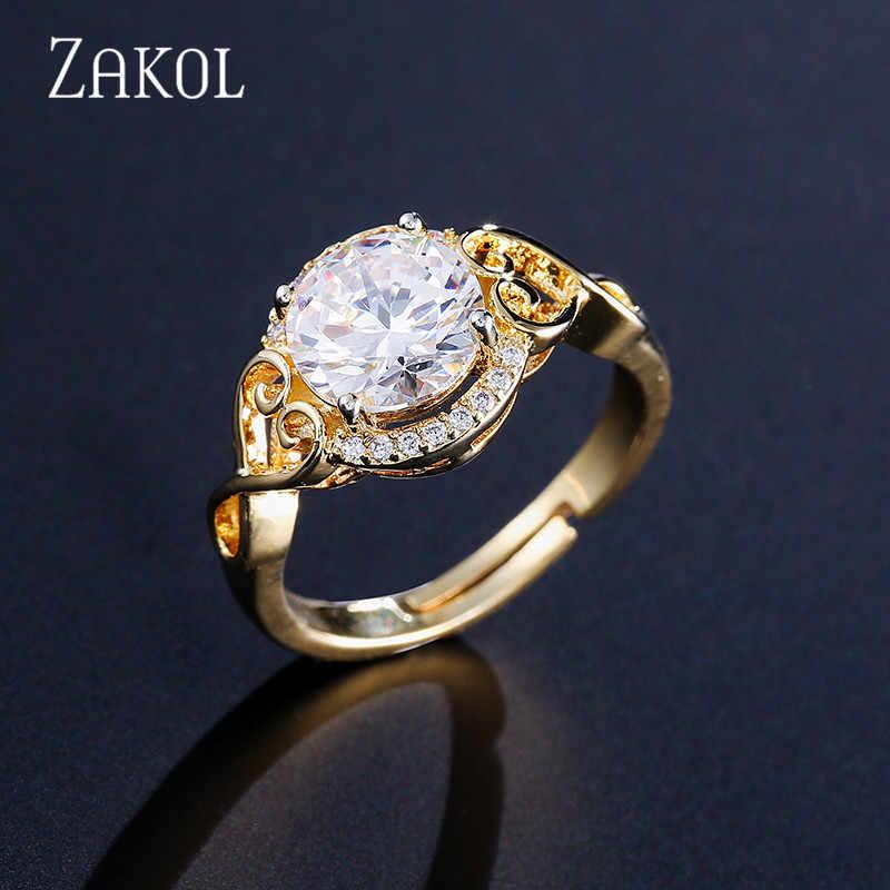 ZAKOL, Классические европейские женские кольца, белые, большие, кубические, циркониевые, для женщин, для девушек, вечерние, свадебные ювелирные изделия, FSRP2045