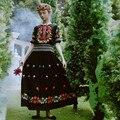 LYNETTE'S CHINOISERIE Spring summer new arrival safetying for elegant black embroidered short-sleeve slim full dress