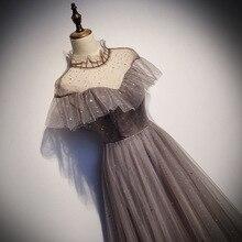 Элегантные вечерние платья из тюля с высоким воротом, Длинные вечерние платья для выпускного вечера, вечернее платье трапециевидной формы на шнуровке сзади, Robe De Soiree