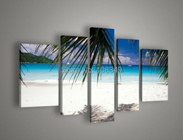 100% hand painted oil painting canvas pictures frame Blue ocean beach trees LIVE ROOM DECOR wall art modern paintings - Best Art store