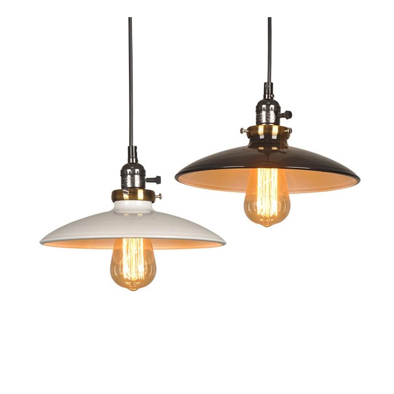 Industrial Painted Iron Pendant Light Retro Loft Pendant Lamp Home Decor Dining Room White Black Red Green Vintage Pendant Light